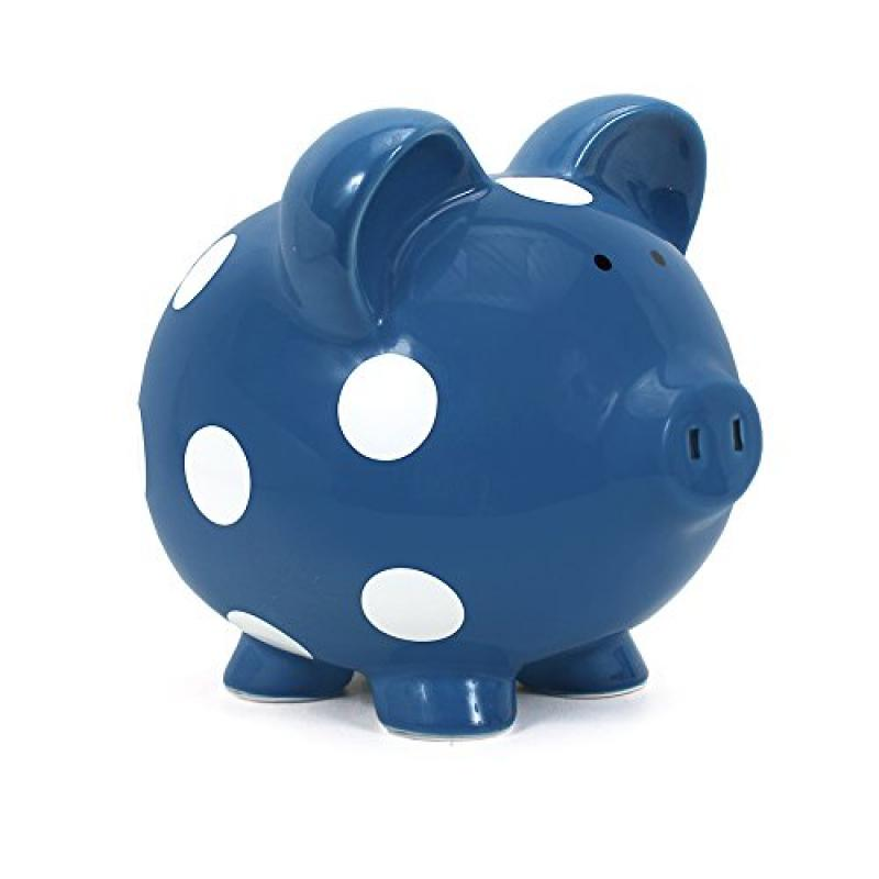 Child to Cherish Polka Dot Piggy Bank, Dark Blue