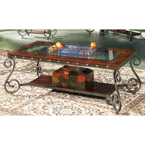 Greyson Living Este Elegant Glass Insert Coffee Table by