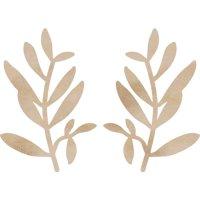 Wood Flourishes 2/Pkg-Small Leaves