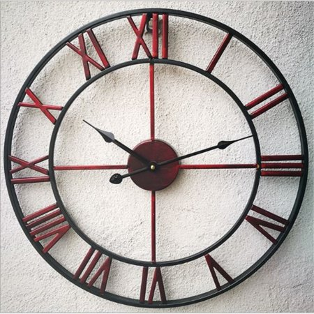 - 3D Vintage Retro 16-inch Not-Ticking Dia Large Iron Metal Indoor Wall Clock with Roman Numerals Round