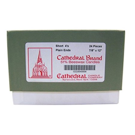 cathedral candle company 51% beeswax plain end short 4's cathedral church candles, 7/8 inch x 12 inch, box of