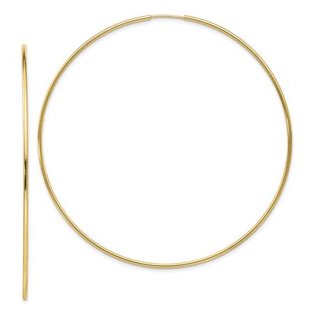 10k Yellow Gold Polished Endless Tube Hoop Earrings (3IN Long)