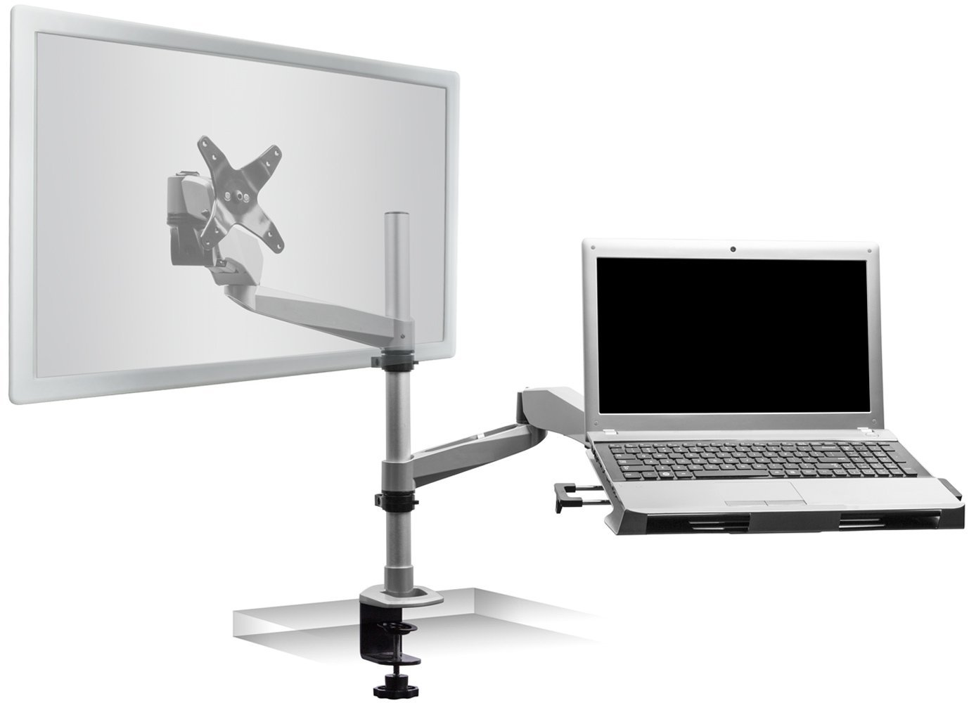 Mount It Full Motion Dual Arm Laptop And Monitor Desk Stand Mi 75916 Com