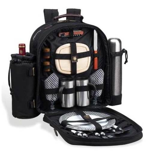 London Coffee & Picnic Backpack for Two in Black