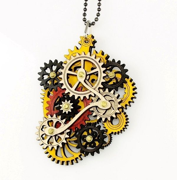 Green Tree Jewelry Kinetic Main Gear Wood Pendant Necklace with Chain 6001C