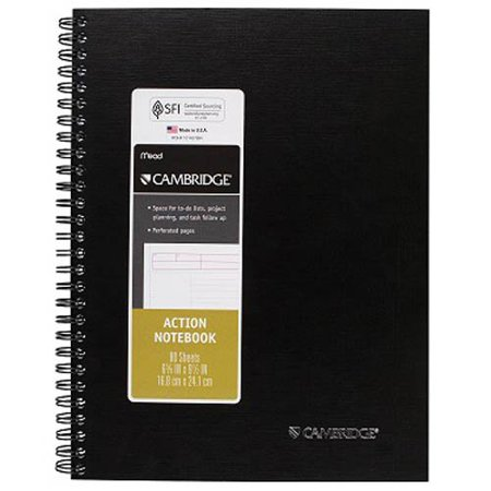 """Cambridge Action Planner Business Notebook, 9 1/2"""" x 7 1/4"""", Assorted Colors (4500410)"""
