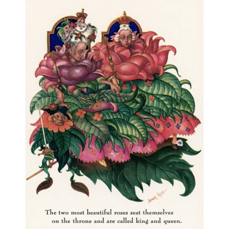 Little IdaS Flowers NThe Two Most Beautiful Roses Seat Themselves On The Throne And Are Called King And Queen Drawing By Arthur Szyk For The Fairy Tale By Hans Christian Andersen Poster Print by