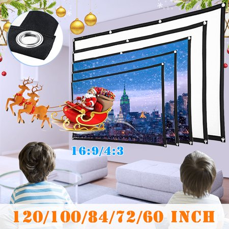 Selling!!! 4:3 Folding Projector Screen 60-100 inch Polyester HD Home Outdoor Cinema 3D Film Projection For Home Office Christmas Party Indoor ()