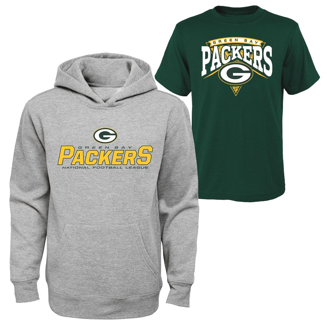 "Green Bay Packers Youth NFL ""Layered"" T-Shirt & Hooded Sweatshirt Combo Set"