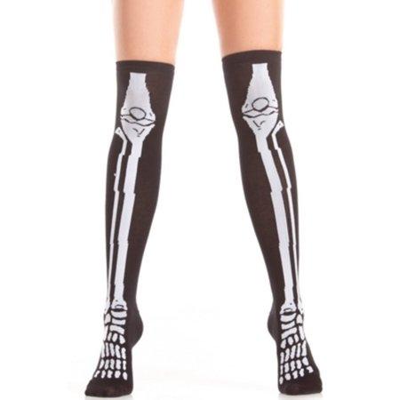 Knee High Skeleton Socks Be Wicked BW403 Black