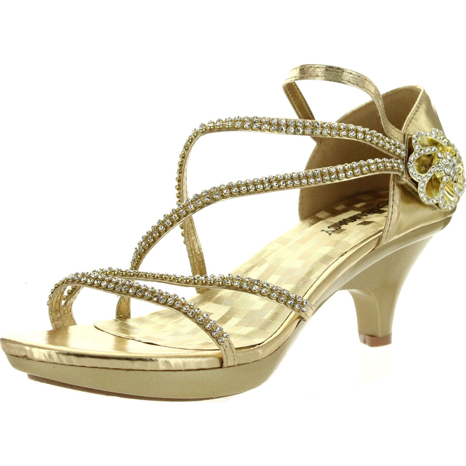 Delicacy Womens ANGEL48 Open Toe Rhinestones Med Low Heel Party Dress Sandal