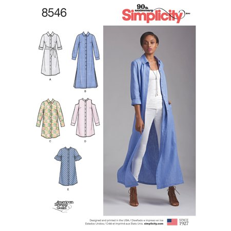 Simplicity Misses' Size 6-14 Shirt Dresses Pattern, 1 Each