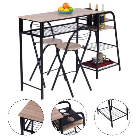 costway 3 pc pub dining set table chairs counter height