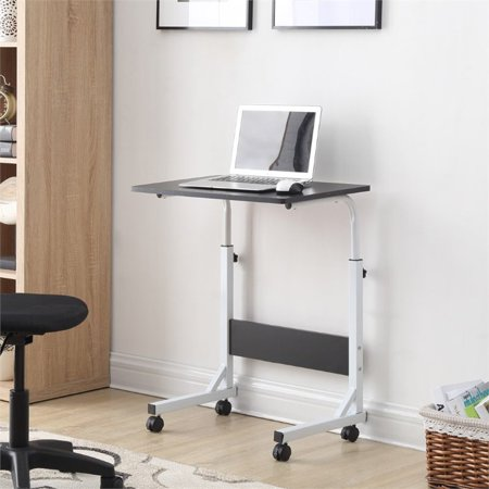 Hodedah Adjustable Height Wood Top Laptop Desk on Wheels in Black - image 2 of 4