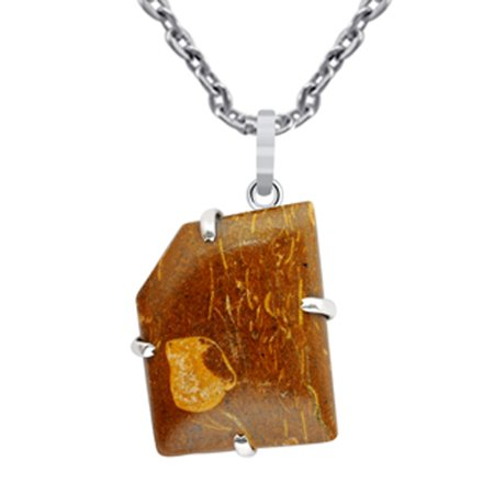 36 Ct. Natural Picture Jasper Pendant 925 Sterling Silver By Orchid jewelry