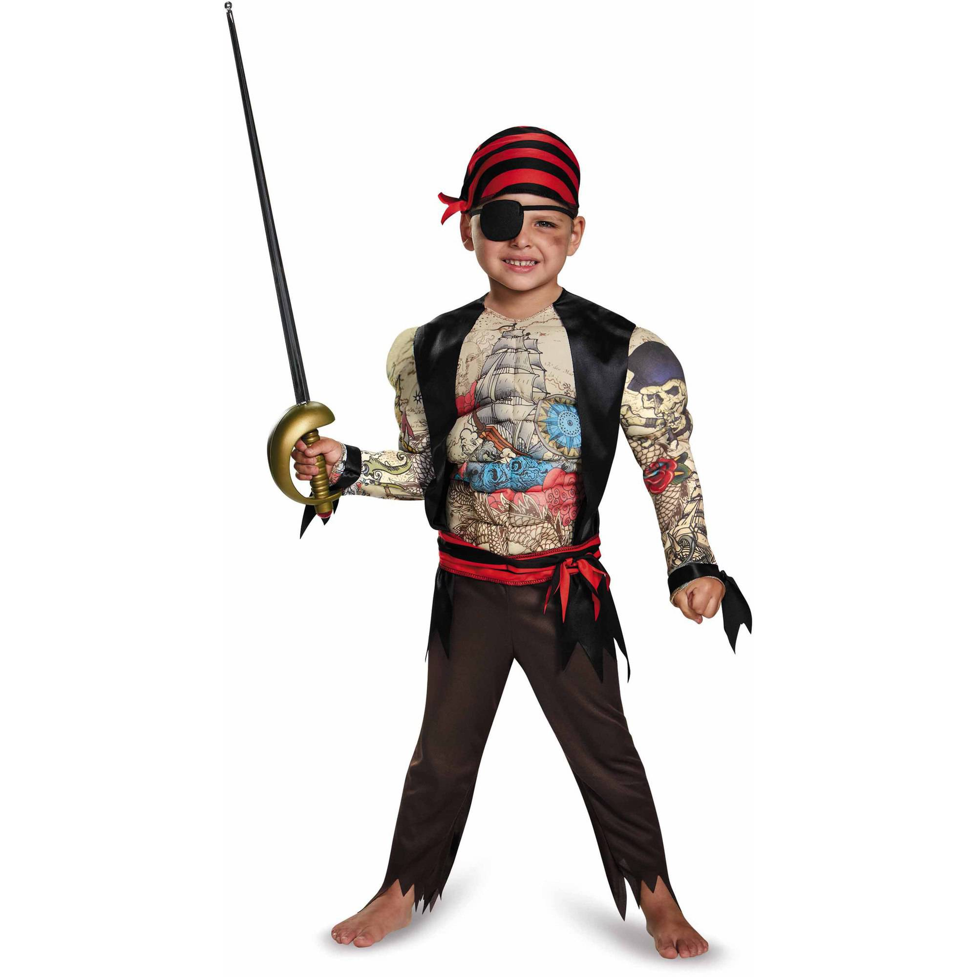 Disguise Pirate Toddler Muscle Halloween Dress Up   Role Play Costume by