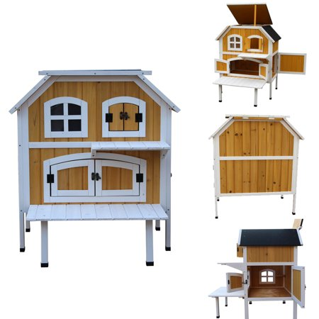 Zimtown 2 Level Large Wooden Cat Homes Cottage Elevated Indoor Outdoor Pet House Shelter