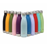 MIRA Insulated Double Wall Vacuum Stainless Steel Water Bottle, 17 oz, Cola Shaped, Light Blue