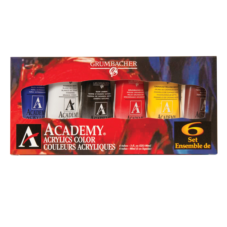 Grumbacher Academy Acrylic Set, 6-Colors, 3 oz. Tubes