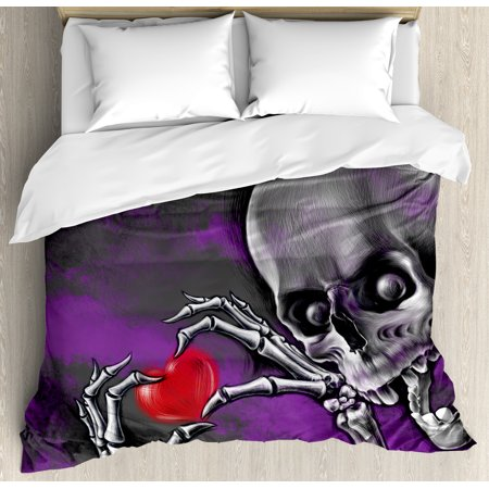 Skull Decor King Size Duvet Cover Set, Spooky Scary Skeleton Holds Eternal Love Sybol Heart in its Boned Skull Hands Image, Decorative 3 Piece Bedding Set with 2 Pillow Shams, Multi, by Ambesonne