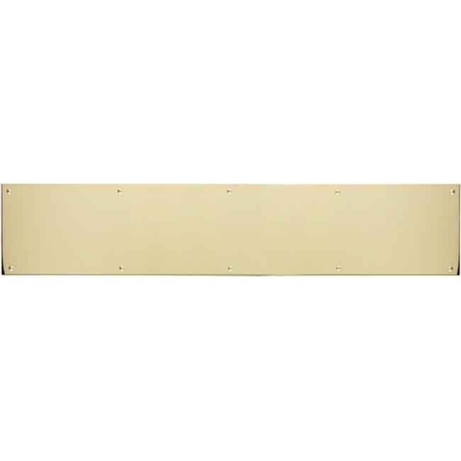 BRASS Accents A09-P0834-628ADH 8 inch x 34 inch Kick Plate Polished Brass-Aluminum Adhesive Mount