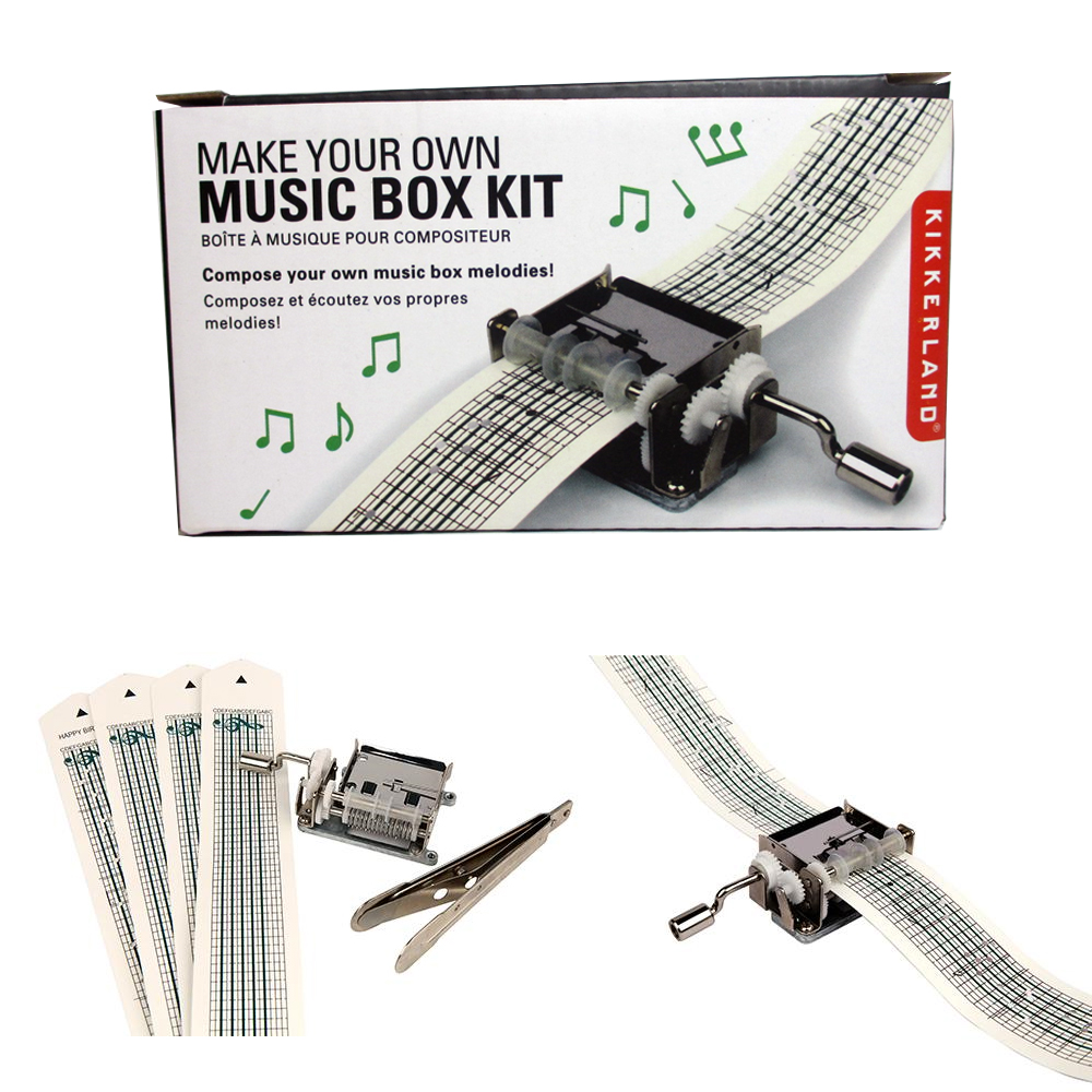 Kikkerland Mechanical Music Box Set Paper Strip Make Your Own Songs Compose Gift by Kikkerland