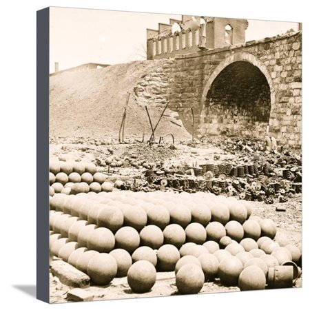 Richmond, Va. Piles of solid shot, canister, etc., in the Arsenal Stretched Canvas Print Wall Art - Halloween Stores Richmond Va