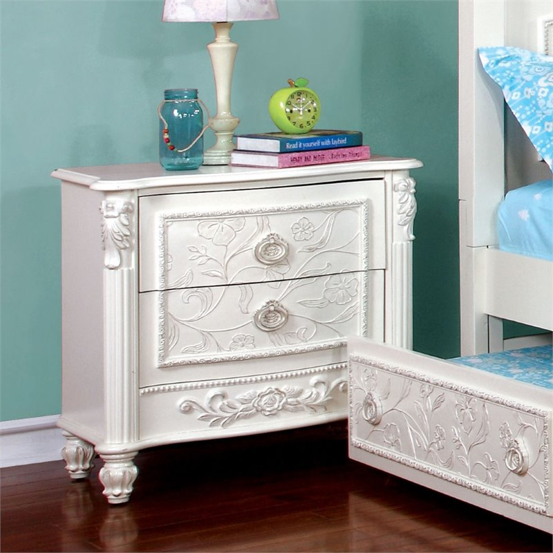 Furniture of America Aneissa 2 Drawer Kids Nightstand in White