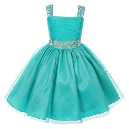 Cinderella Couture Girls Jade Rhinestone Ruched Sleeveless Dress 8-14 (Cinderella Girls Dresses)