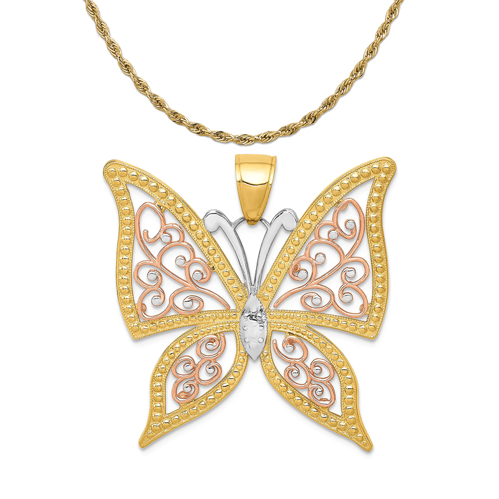 14K Yellow Gold and Rhodium-Plating Polished Butterfly Pendant