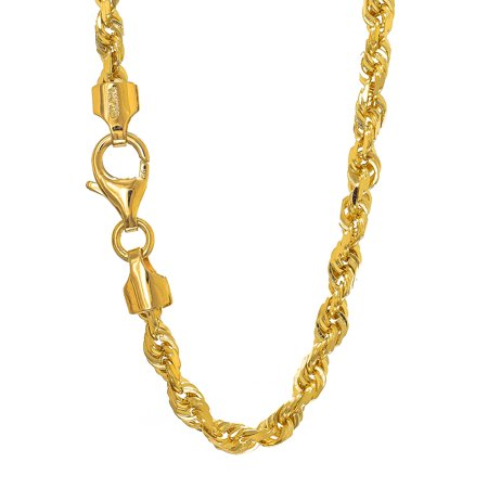 14k Solid Gold Yellow Or White 2.9mm Diamond-Cut Rope Bracelet Necklace 7