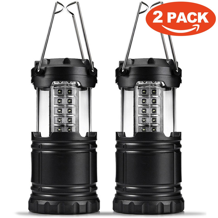 2 Pack of Water Resistant Portable Ultra Bright LED Lantern Flashlight for Hiking, Camping, Blackouts, Black, 2 Pack