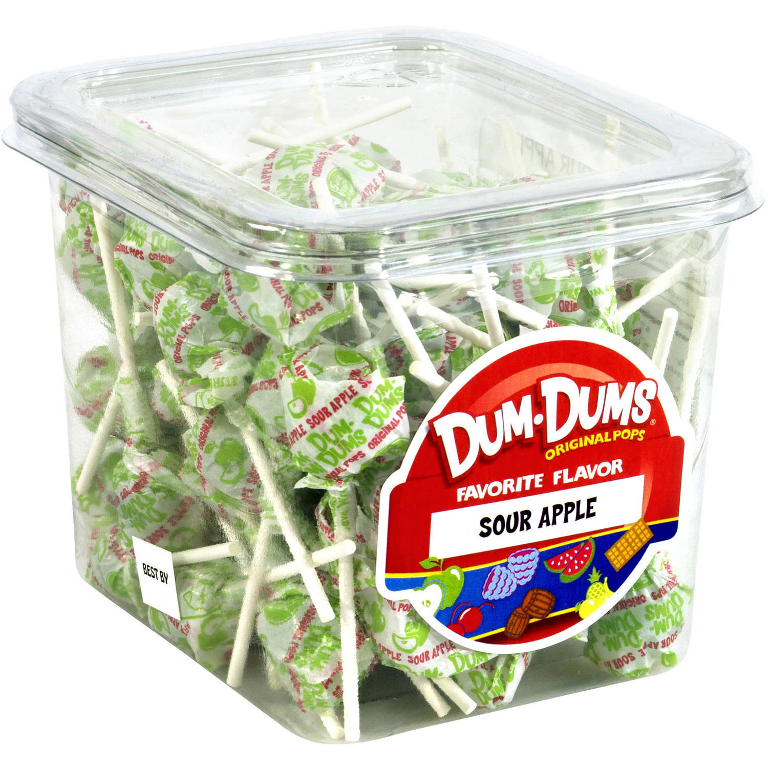 Dum Dums Original Pops Sour Apple Lollipops, 68 count, 1 lb by
