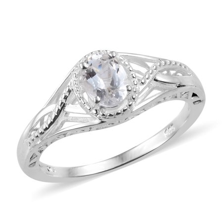 925 Sterling Silver Oval Goshenite Solitaire Promise Ring Jewelry Gift