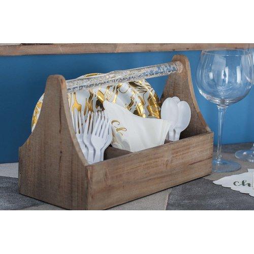 Union Rustic Ornelas Farmhouse Rectangular Wooden 4 Bottle Tabletop Wine Rack