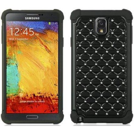 Hard PC with Soft Rubber Galaxy Note 4 Heavy Duty Dual Layer Hybrid Bling Diamond Defender Case Cover -