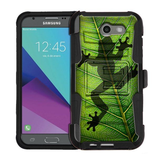 Samsung Galaxy J3 Prime Armor Hybrid Case - Frog Prints on Leafs