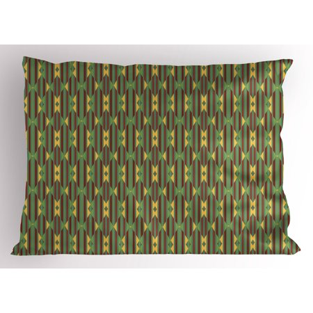 Kente Pattern Pillow Sham Retro Revival Diamond Line Pattern with Vertical Stripes, Decorative Standard Queen Size Printed Pillowcase, 30 X 20 Inches, Sea Green Mustard and Ruby, by Ambesonne