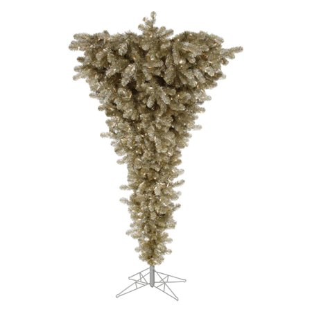 Vickerman 7.5' Champagne Upside Down Artificial Christmas Tree with 500 Warm White LED Lights ...