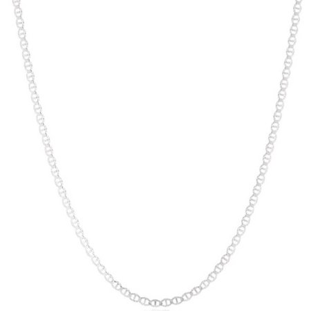 0.925 Sterling Silver 2mm Unisex Flat Marina Chain, 16