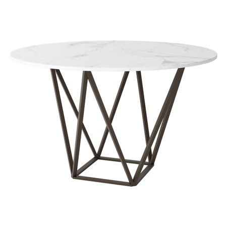 Modern Contemporary Urban Design Kitchen Room Dining Table, White Brass - Faux Marble Painted Metal