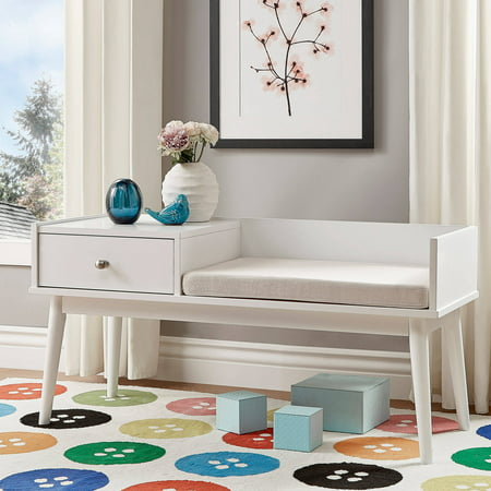 (Chelsea Lane Ethan Entryway Bench with Attached Storage End Table, Multiple Bench Colors)