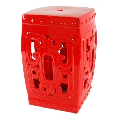 A&B Home Ceramic Garden Stool, Red