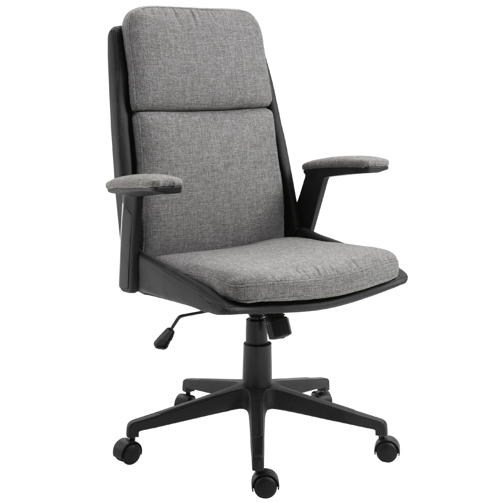 Image of: Vinsetto High Back Office Chair Computer Swivel Rolling Task Chair With Height Adjustable Comfortable With Armrests Black Deep Grey Walmart Com Walmart Com