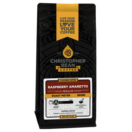 Amaretto Raspberry Flavored Decaf Ground Coffee, 12 Ounce Bag