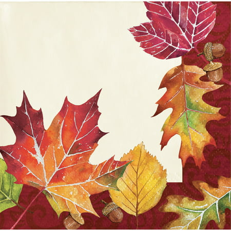 Fall Leaves Beverage Napkins, 48 count