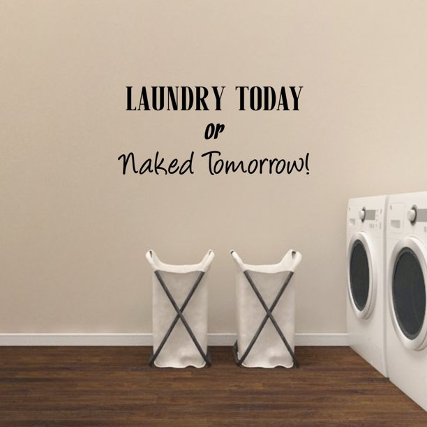 Vinyl Wall Art Decal - Laundry Today Or Naked - 21 x 17