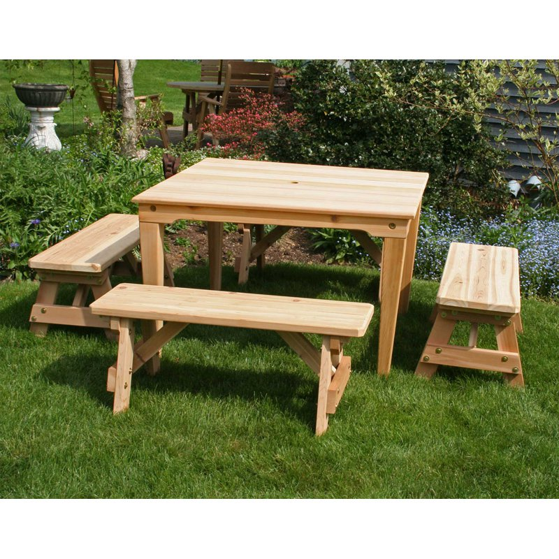 Creekvine Designs Cedar Social 5-Piece Dining Set with Backless Benches