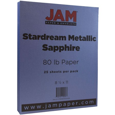 JAM Paper Metallic Paper, 8.5 x 11, 32lb Stardream Sapphire Blue Stardream Metallic, 25 - Metallic Paper
