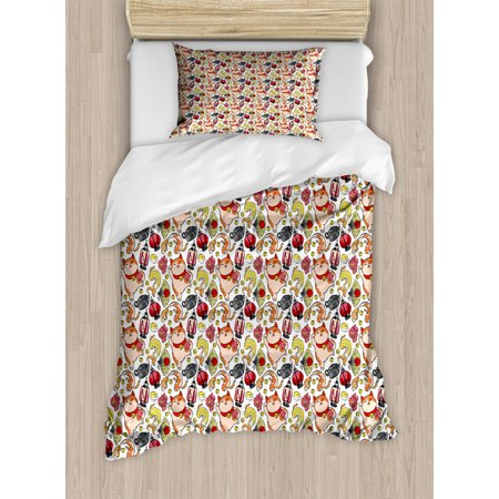 Japanese Cat Duvet Cover Set, Lucky Cat Holding Koi Fish Paw Far East Illustration, Decorative Bedding Set with Pillow Shams, Vermilion Champagne and Mustard, by Ambesonne ()